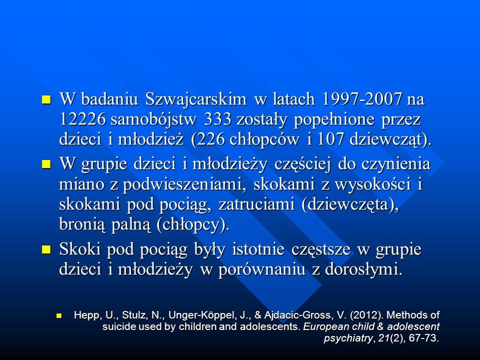 W badaniu Szwajcarskim w latach 1997-2007 na 12226 samobójstw 333 zostały popełnione przez dzieci i młodzież (226 chłopców i 107 dziewcząt).
