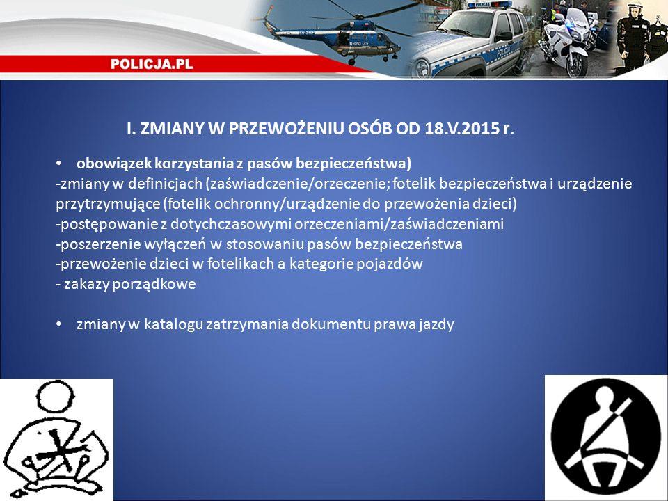 I. ZMIANY W PRZEWOŻENIU OSÓB OD 18.V.2015 r.
