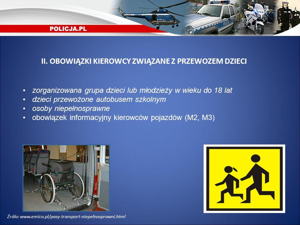 zorganizowana grupa dzieci lub młodzieży w wieku do 18 lat dzieci przewożone autobusem szkolnym osoby niepełnosprawne obowiązek informacyjny kierowców pojazdów (M2, M3) II.