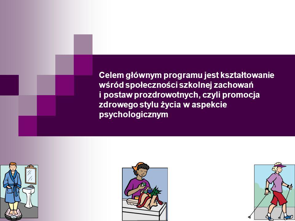 Celem głównym programu jest kształtowanie wśród społeczności szkolnej zachowań i postaw prozdrowotnych, czyli promocja zdrowego stylu życia w aspekcie psychologicznym