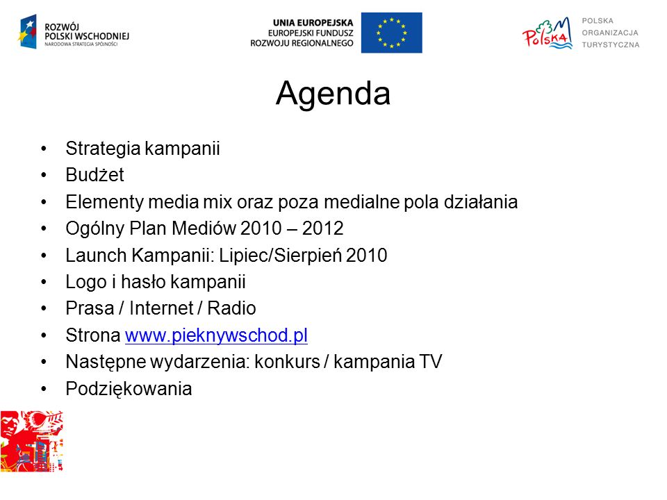 Agenda Strategia kampanii Budżet Elementy media mix oraz poza medialne pola działania Ogólny Plan Mediów 2010 – 2012 Launch Kampanii: Lipiec/Sierpień