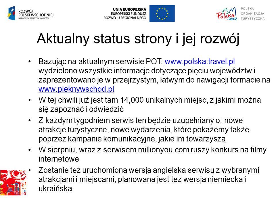 Aktualny status strony i jej rozwój Bazując na aktualnym serwisie POT: www.polska.travel.pl wydzielono wszystkie informacje dotyczące pięciu województw i zaprezentowano je w przejrzystym, łatwym do nawigacji formacie na www.pieknywschod.plwww.polska.travel.pl www.pieknywschod.pl W tej chwili już jest tam 14,000 unikalnych miejsc, z jakimi można się zapoznać i odwiedzić Z każdym tygodniem serwis ten będzie uzupełniany o: nowe atrakcje turystyczne, nowe wydarzenia, które pokażemy także poprzez kampanie komunikacyjne, jakie im towarzyszą W sierpniu, wraz z serwisem millionyou.com ruszy konkurs na filmy internetowe Zostanie też uruchomiona wersja angielska serwisu z wybranymi atrakcjami i miejscami, planowana jest też wersja niemiecka i ukraińska