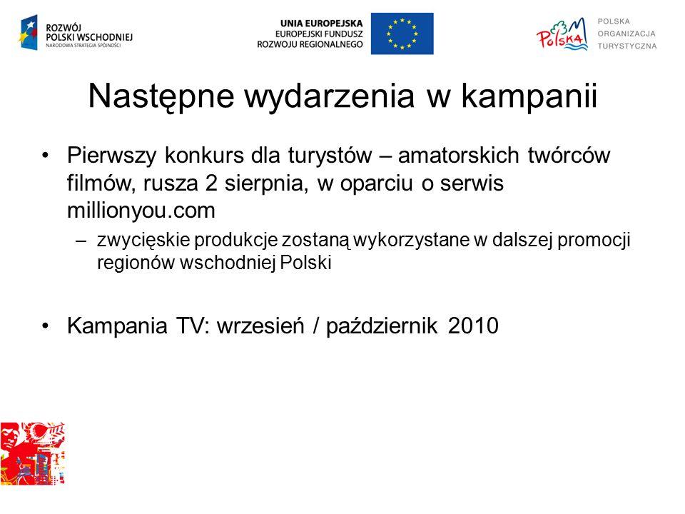Następne wydarzenia w kampanii Pierwszy konkurs dla turystów – amatorskich twórców filmów, rusza 2 sierpnia, w oparciu o serwis millionyou.com –zwycięskie produkcje zostaną wykorzystane w dalszej promocji regionów wschodniej Polski Kampania TV: wrzesień / październik 2010