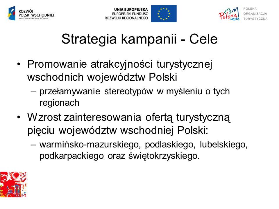Strategia kampanii - Cele Promowanie atrakcyjności turystycznej wschodnich województw Polski –przełamywanie stereotypów w myśleniu o tych regionach Wz