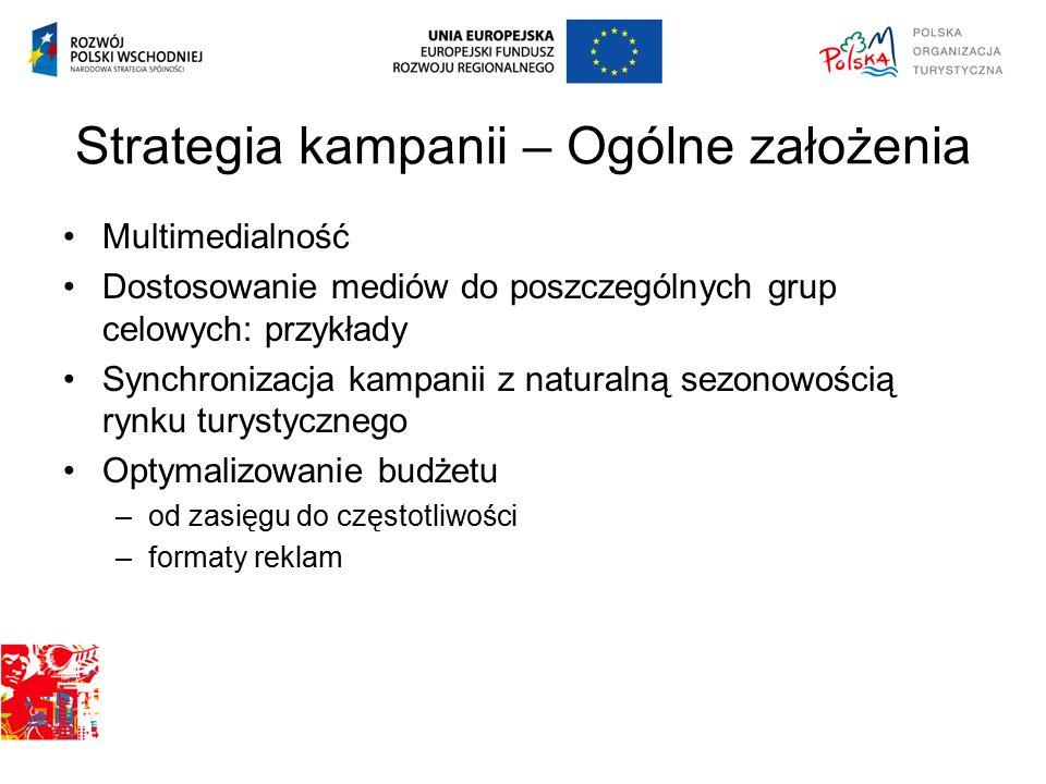 Budżet kampanii Całkowity budżet projektu: 23.944.117,68 PLN Podział budżetu w ramach kampanii 89% media 6% produkcja: spoty TV, radiowe, reklamy prasowe, plakaty, materiały internetowe 5% pozostałe działania BTL i PR