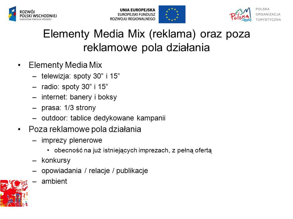 """Elementy Media Mix (reklama) oraz poza reklamowe pola działania Elementy Media Mix –telewizja: spoty 30"""" i 15"""" –radio: spoty 30"""" i 15"""" –internet: bane"""