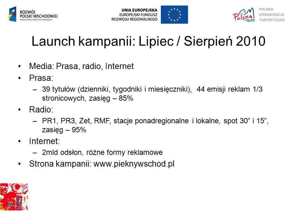 Launch kampanii: Lipiec / Sierpień 2010 Media: Prasa, radio, Internet Prasa: –39 tytułów (dzienniki, tygodniki i miesięczniki), 44 emisji reklam 1/3 stronicowych, zasięg – 85% Radio: –PR1, PR3, Zet, RMF, stacje ponadregionalne i lokalne, spot 30 i 15 , zasięg – 95% Internet: –2mld odsłon, różne formy reklamowe Strona kampanii: www.pieknywschod.pl