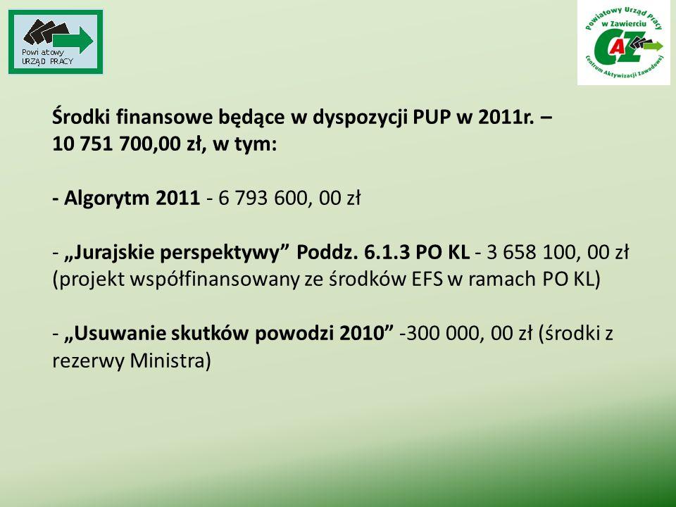 """Środki finansowe będące w dyspozycji PUP w 2011r. – 10 751 700,00 zł, w tym: - Algorytm 2011 - 6 793 600, 00 zł - """"Jurajskie perspektywy"""" Poddz. 6.1.3"""
