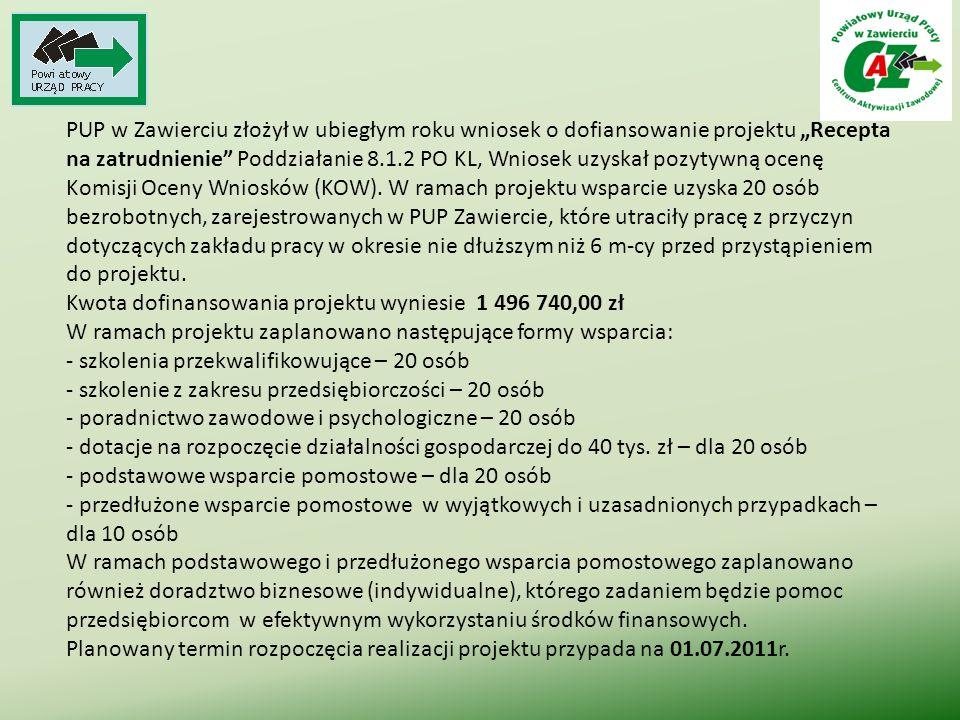 """PUP w Zawierciu złożył w ubiegłym roku wniosek o dofiansowanie projektu """"Recepta na zatrudnienie"""" Poddziałanie 8.1.2 PO KL, Wniosek uzyskał pozytywną"""