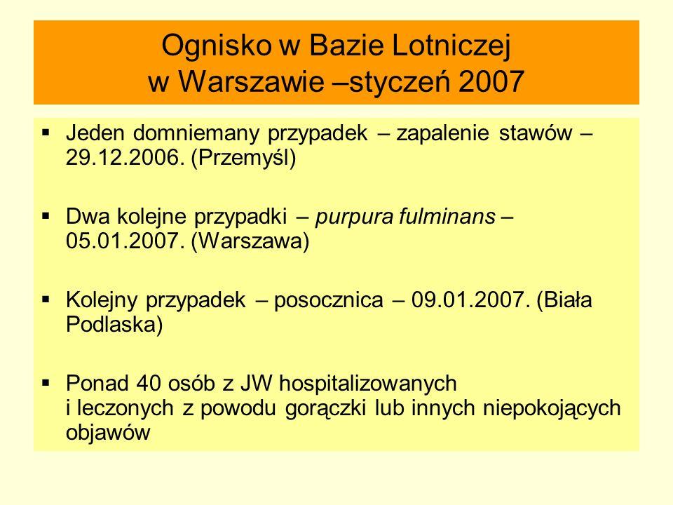 Ognisko w Bazie Lotniczej w Warszawie –styczeń 2007  Jeden domniemany przypadek – zapalenie stawów – 29.12.2006. (Przemyśl)  Dwa kolejne przypadki –