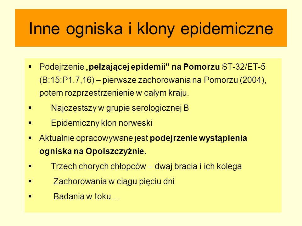 """Inne ogniska i klony epidemiczne  Podejrzenie """"pełzającej epidemii"""" na Pomorzu ST-32/ET-5 (B:15:P1.7,16) – pierwsze zachorowania na Pomorzu (2004), p"""