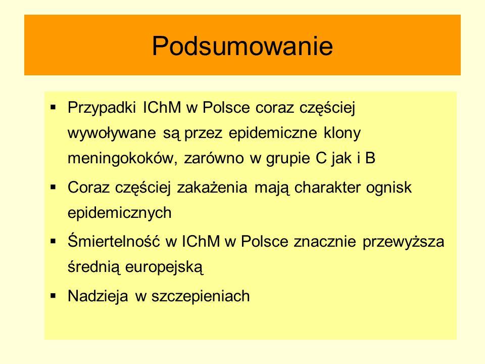 Podsumowanie  Przypadki IChM w Polsce coraz częściej wywoływane są przez epidemiczne klony meningokoków, zarówno w grupie C jak i B  Coraz częściej