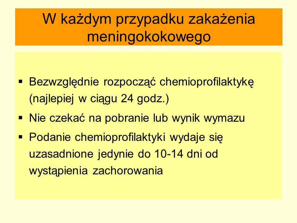 W każdym przypadku zakażenia meningokokowego  Bezwzględnie rozpocząć chemioprofilaktykę (najlepiej w ciągu 24 godz.)  Nie czekać na pobranie lub wyn