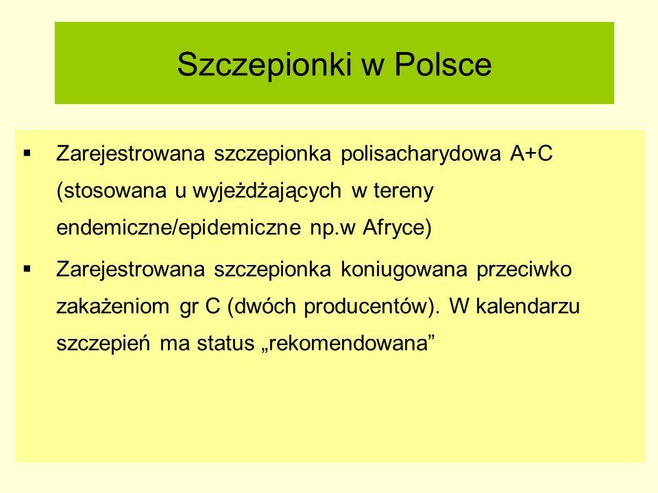 Szczepionki w Polsce  Zarejestrowana szczepionka polisacharydowa A+C (stosowana u wyjeżdżających w tereny endemiczne/epidemiczne np.w Afryce)  Zarej