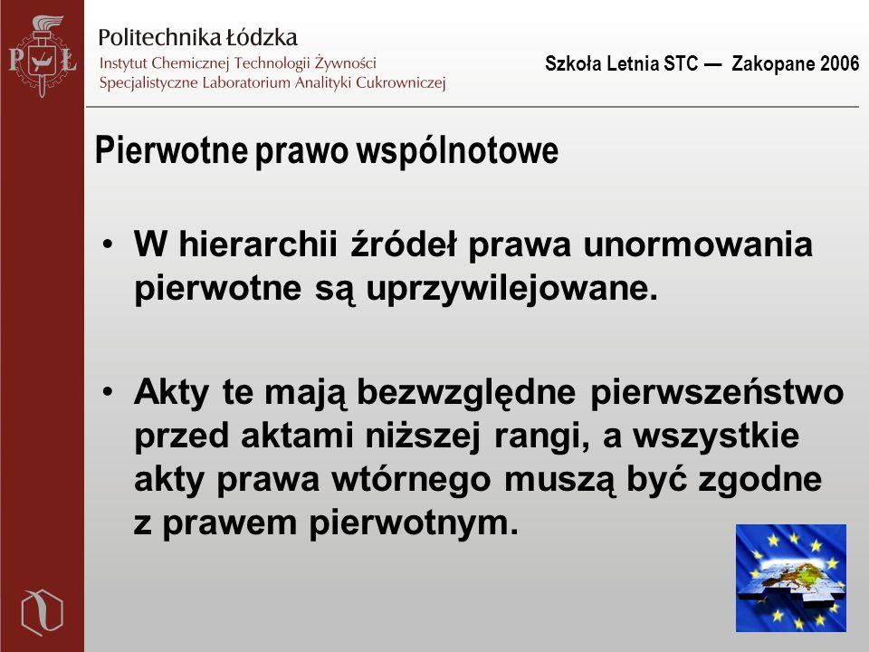 Szkoła Letnia STC — Zakopane 2006 Pierwotne prawo wspólnotowe W hierarchii źródeł prawa unormowania pierwotne są uprzywilejowane.