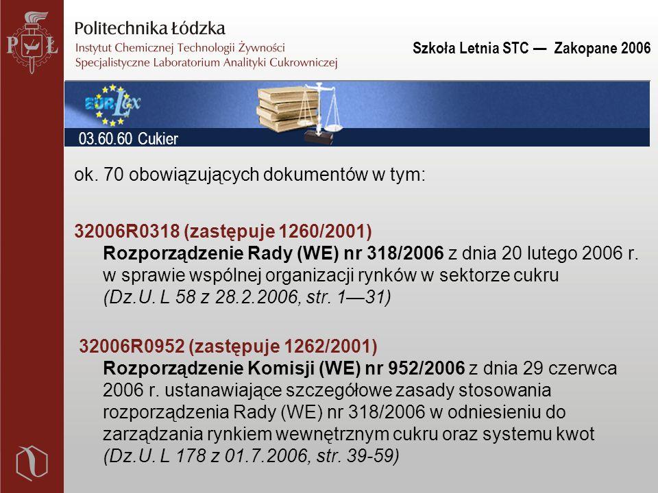 Szkoła Letnia STC — Zakopane 2006 ok. 70 obowiązujących dokumentów w tym: 32006R0318 (zastępuje 1260/2001) Rozporządzenie Rady (WE) nr 318/2006 z dnia