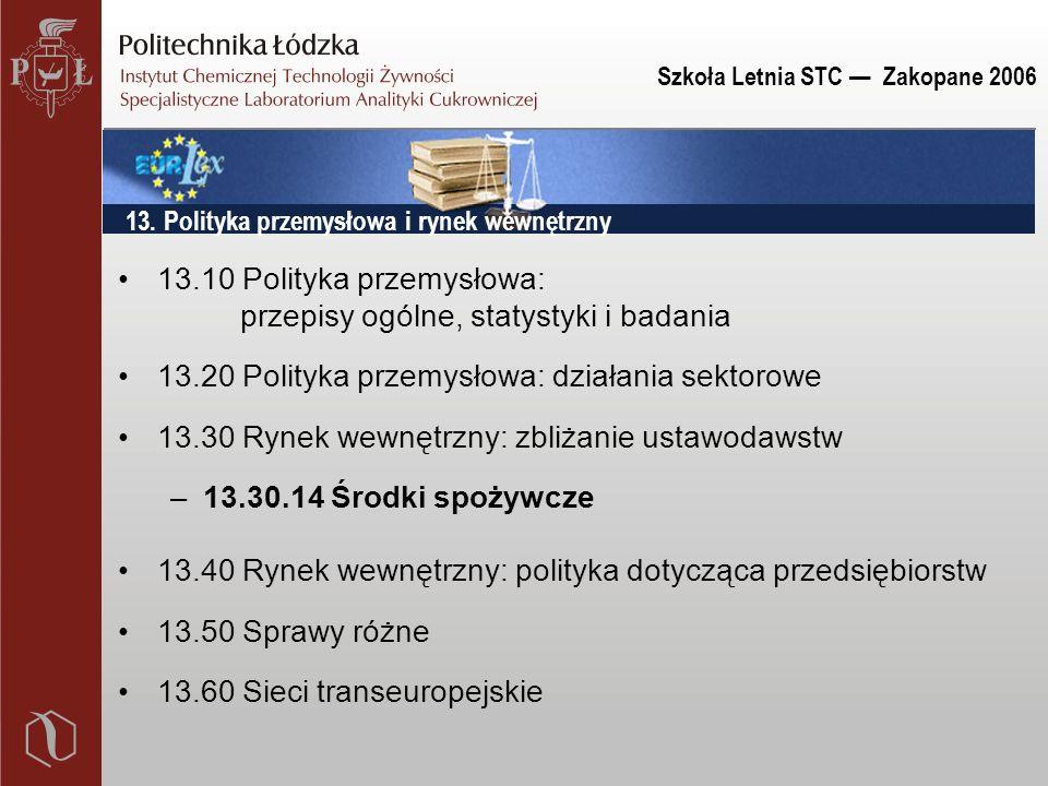 Szkoła Letnia STC — Zakopane 2006 13.10 Polityka przemysłowa: przepisy ogólne, statystyki i badania 13.20 Polityka przemysłowa: działania sektorowe 13