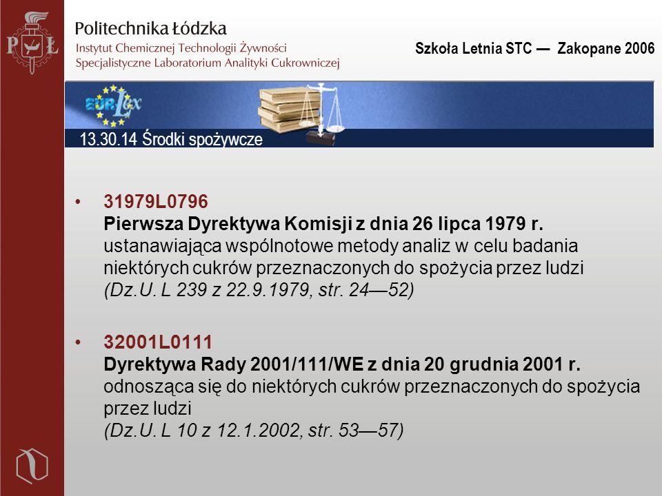 Szkoła Letnia STC — Zakopane 2006 31979L0796 Pierwsza Dyrektywa Komisji z dnia 26 lipca 1979 r. ustanawiająca wspólnotowe metody analiz w celu badania