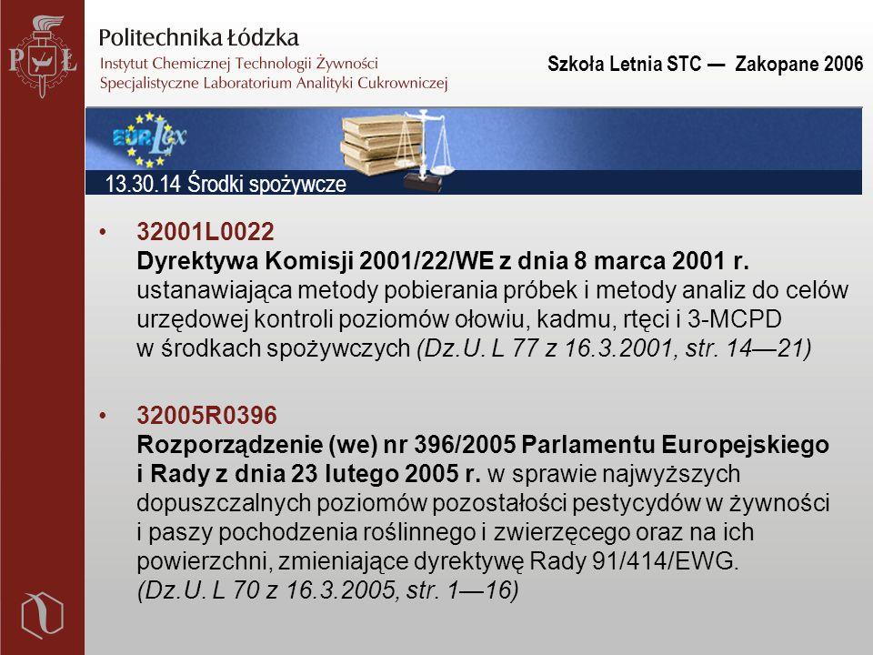 Szkoła Letnia STC — Zakopane 2006 32001L0022 Dyrektywa Komisji 2001/22/WE z dnia 8 marca 2001 r. ustanawiająca metody pobierania próbek i metody anali