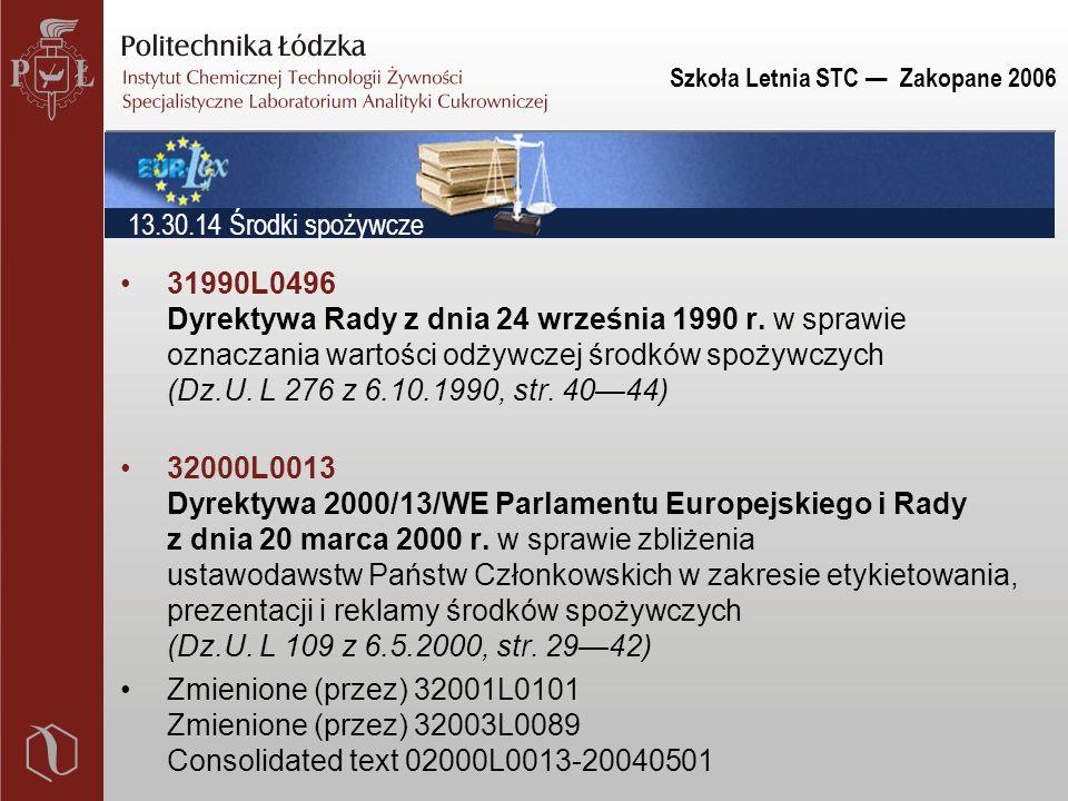 Szkoła Letnia STC — Zakopane 2006 31990L0496 Dyrektywa Rady z dnia 24 września 1990 r.