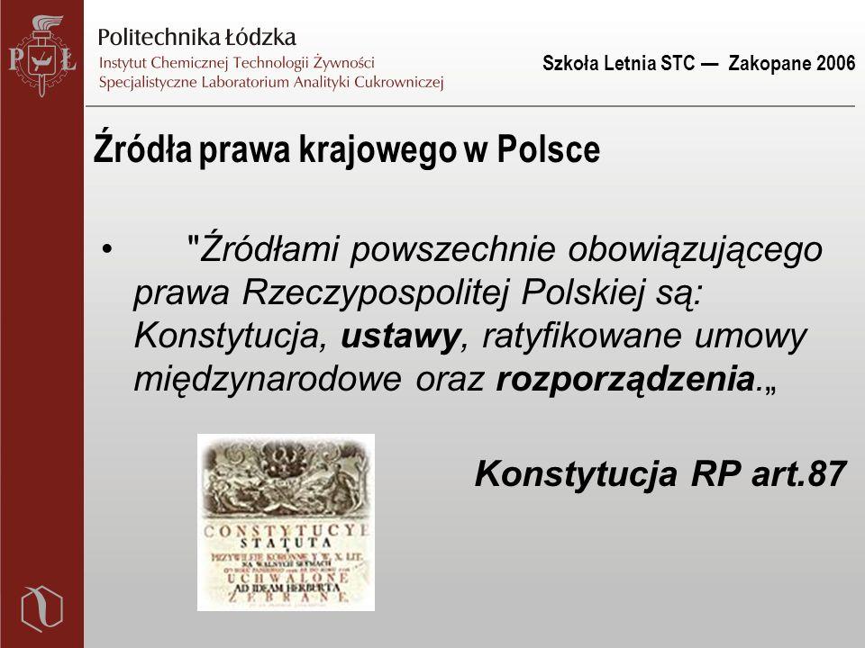 Szkoła Letnia STC — Zakopane 2006 Źródła prawa krajowego w Polsce