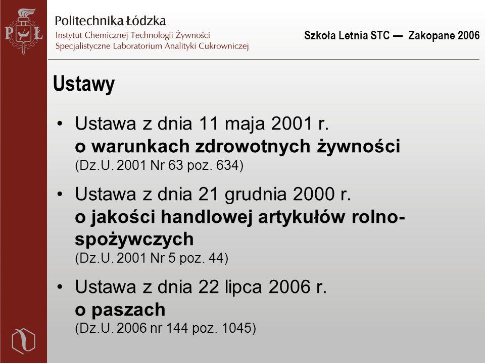 Szkoła Letnia STC — Zakopane 2006 Ustawy Ustawa z dnia 11 maja 2001 r. o warunkach zdrowotnych żywności (Dz.U. 2001 Nr 63 poz. 634) Ustawa z dnia 21 g