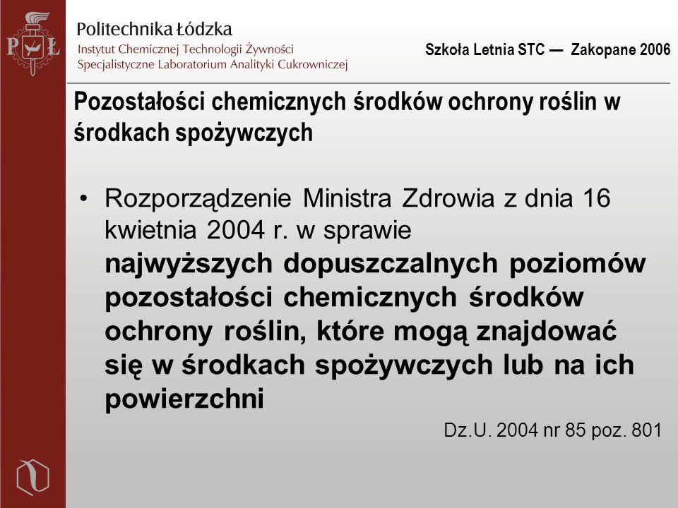 Szkoła Letnia STC — Zakopane 2006 Pozostałości chemicznych środków ochrony roślin w środkach spożywczych Rozporządzenie Ministra Zdrowia z dnia 16 kwietnia 2004 r.