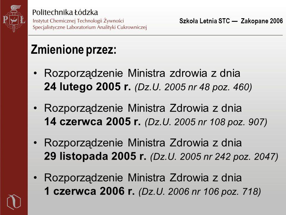 Szkoła Letnia STC — Zakopane 2006 Zmienione przez: Rozporządzenie Ministra zdrowia z dnia 24 lutego 2005 r.