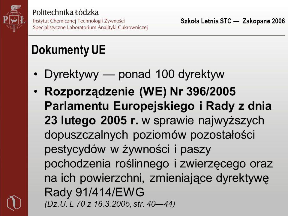 Szkoła Letnia STC — Zakopane 2006 Dokumenty UE Dyrektywy — ponad 100 dyrektyw Rozporządzenie (WE) Nr 396/2005 Parlamentu Europejskiego i Rady z dnia 2