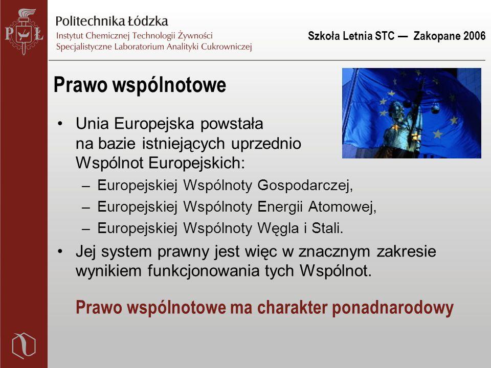 Szkoła Letnia STC — Zakopane 2006 Prawo wspólnotowe Unia Europejska powstała na bazie istniejących uprzednio Wspólnot Europejskich: –Europejskiej Wspólnoty Gospodarczej, –Europejskiej Wspólnoty Energii Atomowej, –Europejskiej Wspólnoty Węgla i Stali.