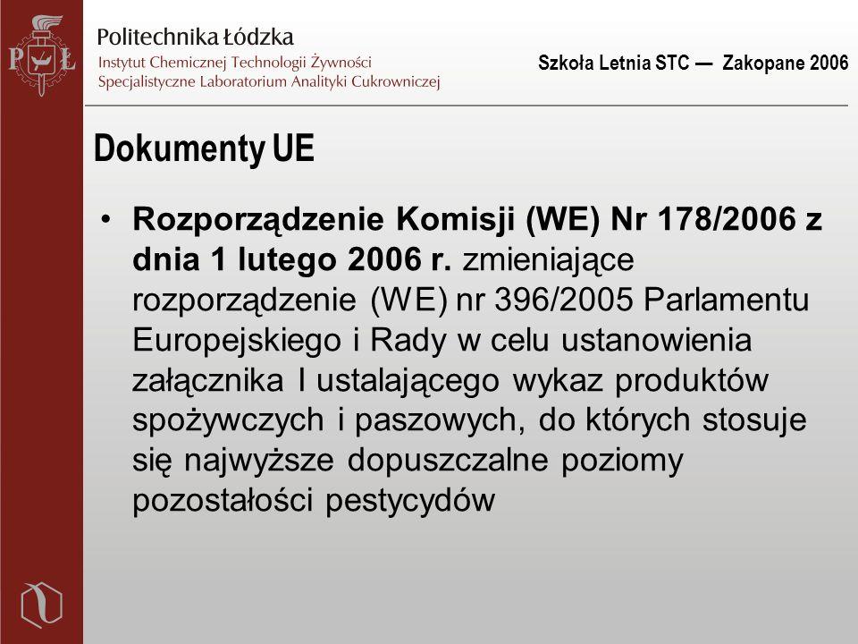 Szkoła Letnia STC — Zakopane 2006 Dokumenty UE Rozporządzenie Komisji (WE) Nr 178/2006 z dnia 1 lutego 2006 r. zmieniające rozporządzenie (WE) nr 396/