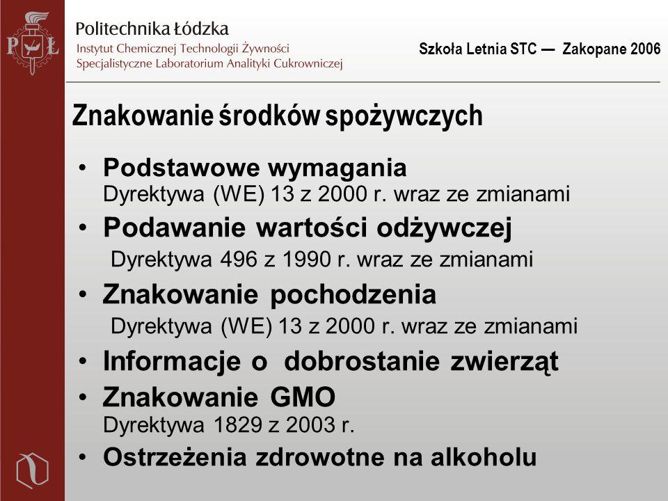 Szkoła Letnia STC — Zakopane 2006 Znakowanie środków spożywczych Podstawowe wymagania Dyrektywa (WE) 13 z 2000 r. wraz ze zmianami Podawanie wartości