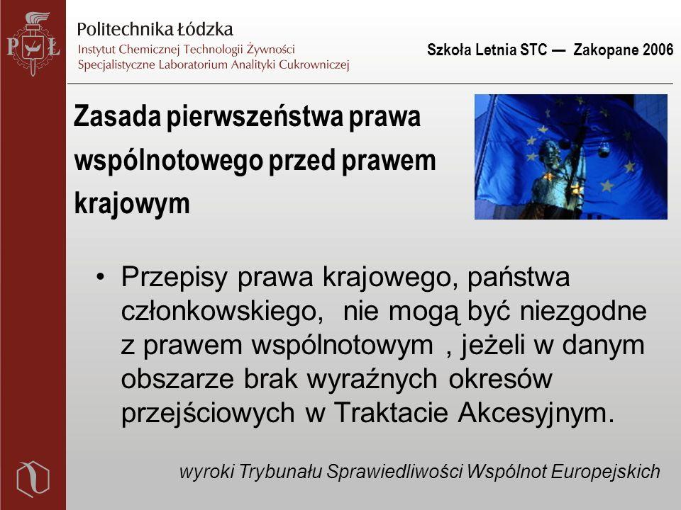 Szkoła Letnia STC — Zakopane 2006 System prawny Unii Europejskiej PRAWO WSPÓLNOTOWE PRAWO KRAJÓW CZŁONKOWSKICH