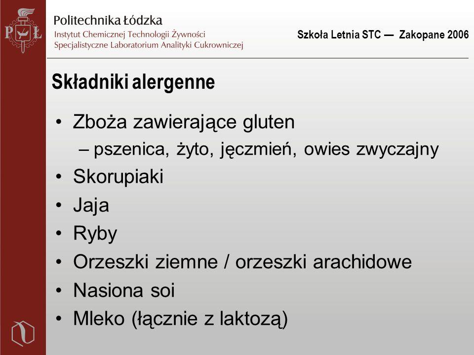 Szkoła Letnia STC — Zakopane 2006 Składniki alergenne Zboża zawierające gluten –pszenica, żyto, jęczmień, owies zwyczajny Skorupiaki Jaja Ryby Orzeszk