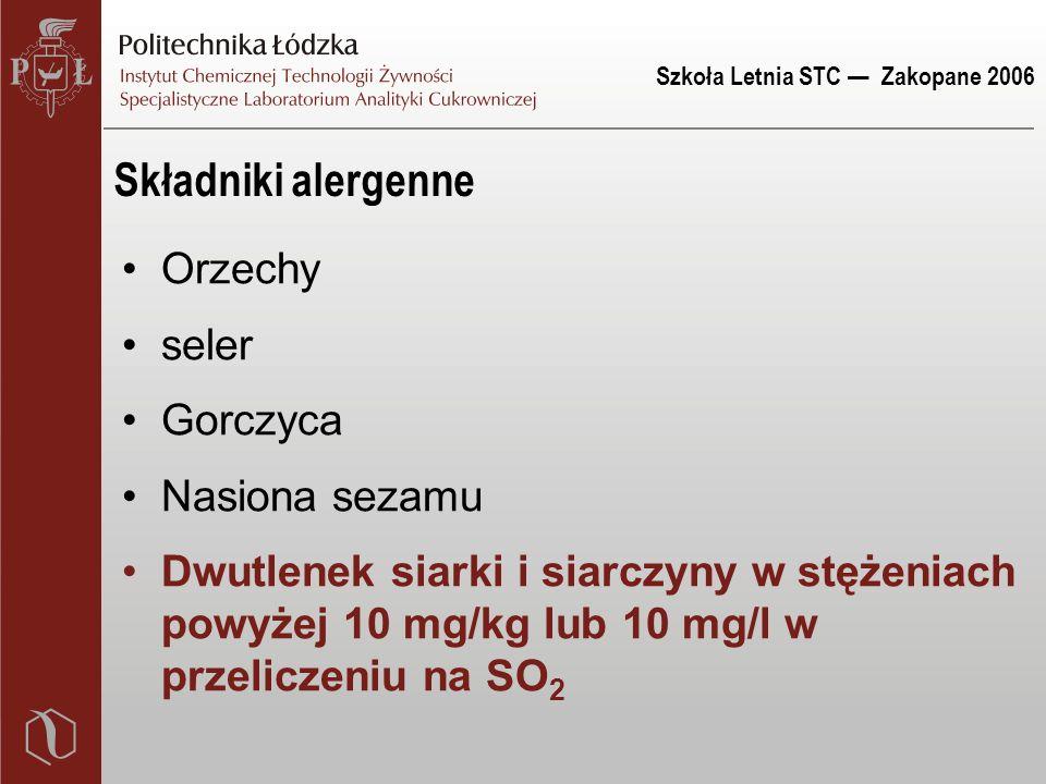 Szkoła Letnia STC — Zakopane 2006 Składniki alergenne Orzechy seler Gorczyca Nasiona sezamu Dwutlenek siarki i siarczyny w stężeniach powyżej 10 mg/kg lub 10 mg/l w przeliczeniu na SO 2