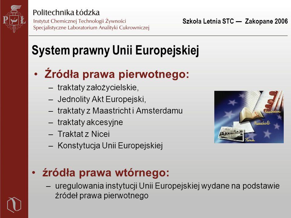 Szkoła Letnia STC — Zakopane 2006 System prawny Unii Europejskiej Źródła prawa pierwotnego: –traktaty założycielskie, –Jednolity Akt Europejski, –trak