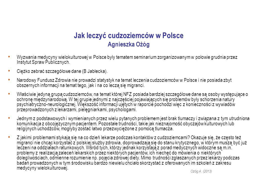 Jak leczyć cudzoziemców w Polsce Agnieszka Ożóg Wyzwania medycyny wielokulturowej w Polsce były tematem seminarium zorganizowanym w połowie grudnia przez Instytut Spraw Publicznych.
