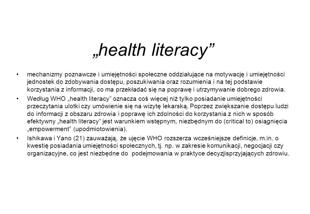 """""""health literacy mechanizmy poznawcze i umiejętności społeczne oddziałujące na motywację i umiejętności jednostek do zdobywania dostępu, poszukiwania oraz rozumienia i na tej podstawie korzystania z informacji, co ma przekładać się na poprawę i utrzymywanie dobrego zdrowia."""