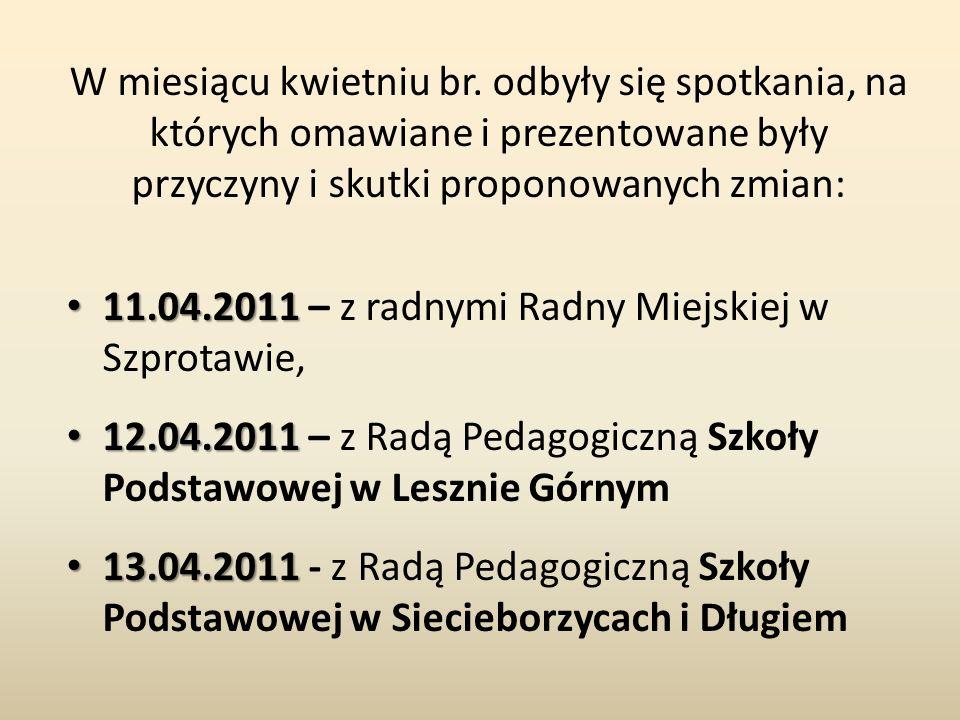 W miesiącu kwietniu br. odbyły się spotkania, na których omawiane i prezentowane były przyczyny i skutki proponowanych zmian: 11.04.2011 11.04.2011 –