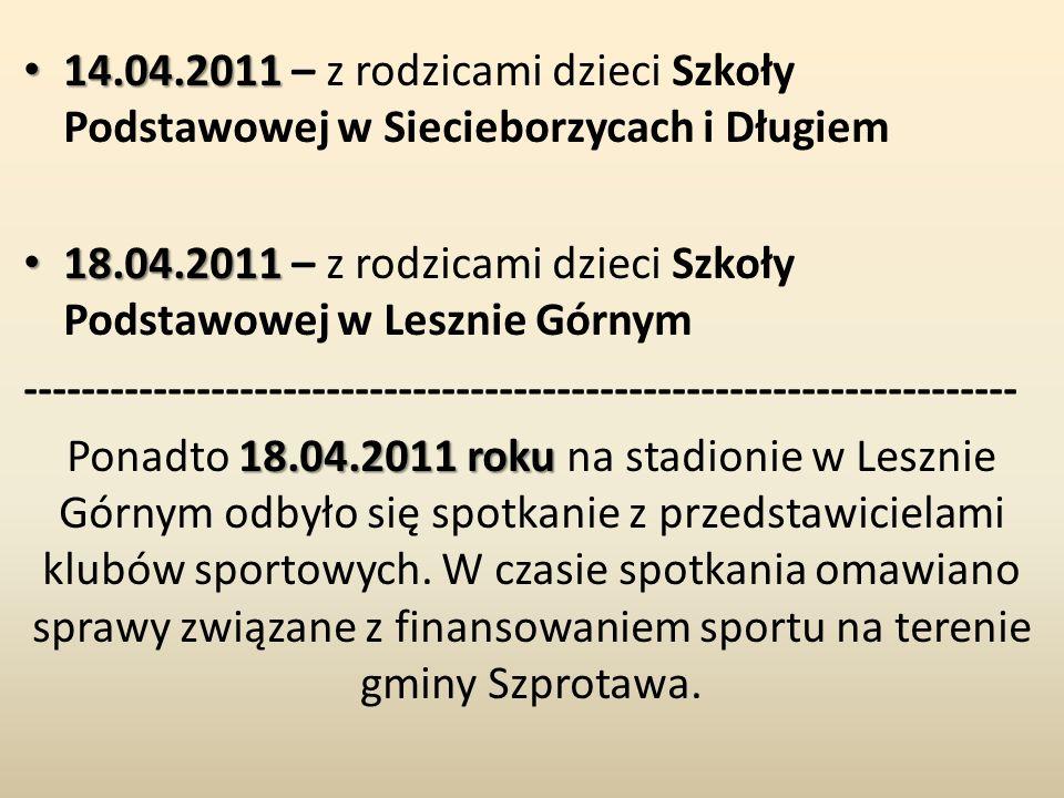 14.04.2011 14.04.2011 – z rodzicami dzieci Szkoły Podstawowej w Siecieborzycach i Długiem 18.04.2011 18.04.2011 – z rodzicami dzieci Szkoły Podstawowej w Lesznie Górnym --------------------------------------------------------------------- 18.04.2011 roku Ponadto 18.04.2011 roku na stadionie w Lesznie Górnym odbyło się spotkanie z przedstawicielami klubów sportowych.