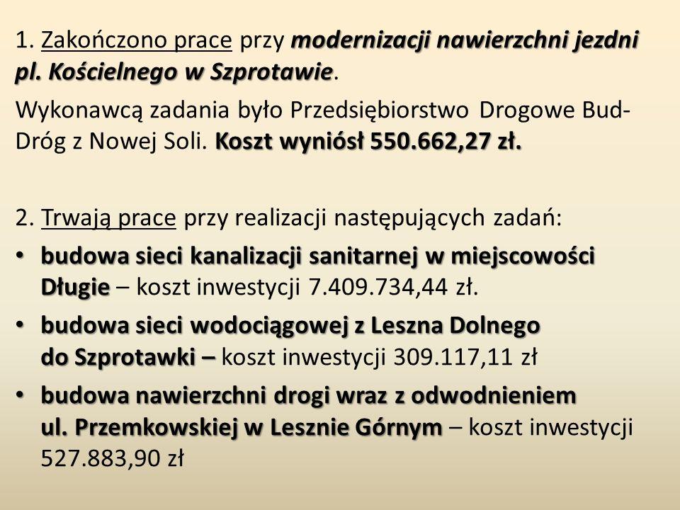 modernizacji nawierzchni jezdni pl. Kościelnego w Szprotawie 1. Zakończono prace przy modernizacji nawierzchni jezdni pl. Kościelnego w Szprotawie. Ko