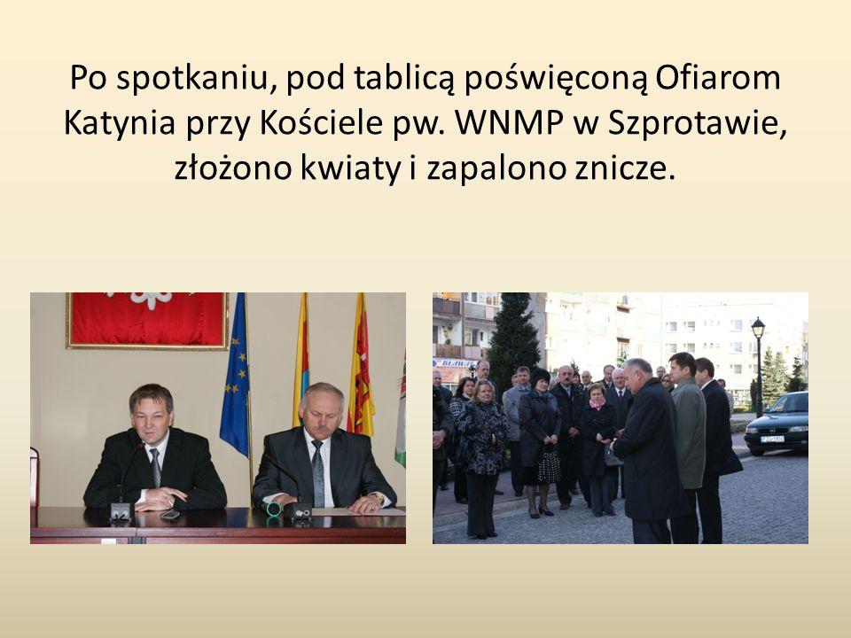 Po spotkaniu, pod tablicą poświęconą Ofiarom Katynia przy Kościele pw. WNMP w Szprotawie, złożono kwiaty i zapalono znicze.