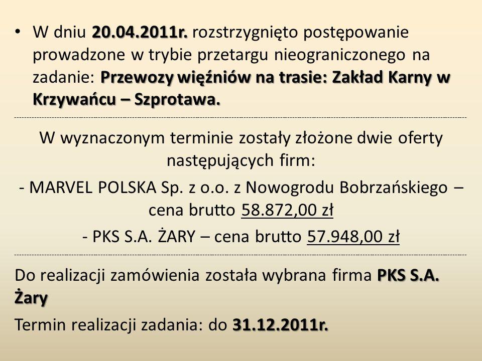 20.04.2011r. Przewozy więźniów na trasie: Zakład Karny w Krzywańcu – Szprotawa. W dniu 20.04.2011r. rozstrzygnięto postępowanie prowadzone w trybie pr