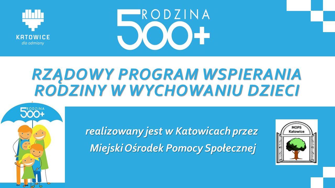 RZĄDOWY PROGRAM WSPIERANIA RODZINY W WYCHOWANIU DZIECI realizowany jest w Katowicach przez Miejski Ośrodek Pomocy Społecznej Miejski Ośrodek Pomocy Sp