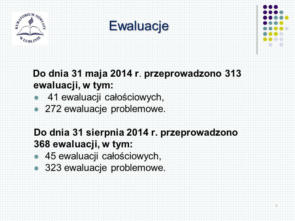 4 Do dnia 31 maja 2014 r. przeprowadzono 313 ewaluacji, w tym: 41 ewaluacji całościowych, 272 ewaluacje problemowe. Do dnia 31 sierpnia 2014 r. przepr