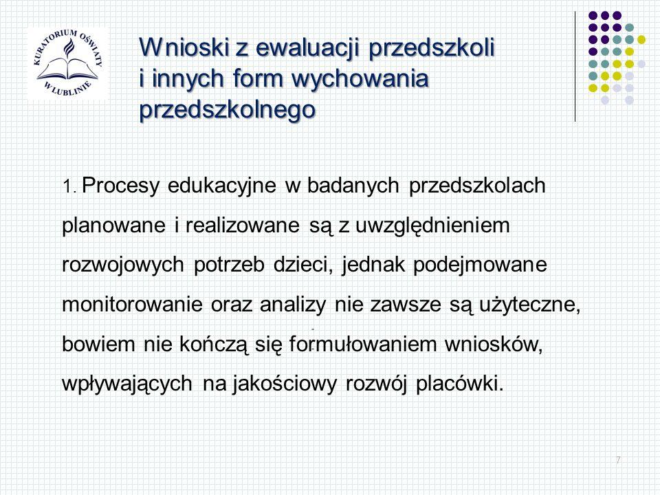 7 Wnioski z ewaluacji przedszkoli i innych form wychowania przedszkolnego 1. Procesy edukacyjne w badanych przedszkolach planowane i realizowane są z