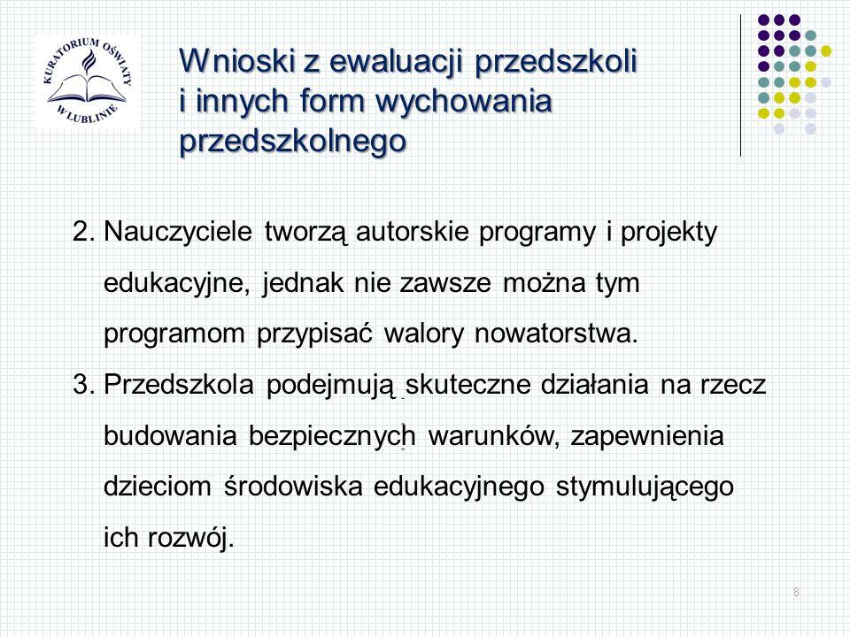 8 Wnioski z ewaluacji przedszkoli i innych form wychowania przedszkolnego 2. Nauczyciele tworzą autorskie programy i projekty edukacyjne, jednak nie z