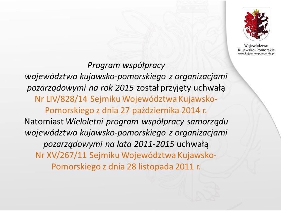 Program współpracy województwa kujawsko-pomorskiego z organizacjami pozarządowymi na rok 2015 został przyjęty uchwałą Nr LIV/828/14 Sejmiku Województwa Kujawsko- Pomorskiego z dnia 27 października 2014 r.