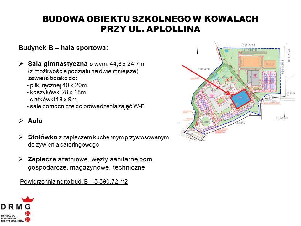 Budynek B – hala sportowa:  Sala gimnastyczna o wym. 44,8 x 24,7m (z możliwością podziału na dwie mniejsze) zawiera boisko do: - piłki ręcznej 40 x 2