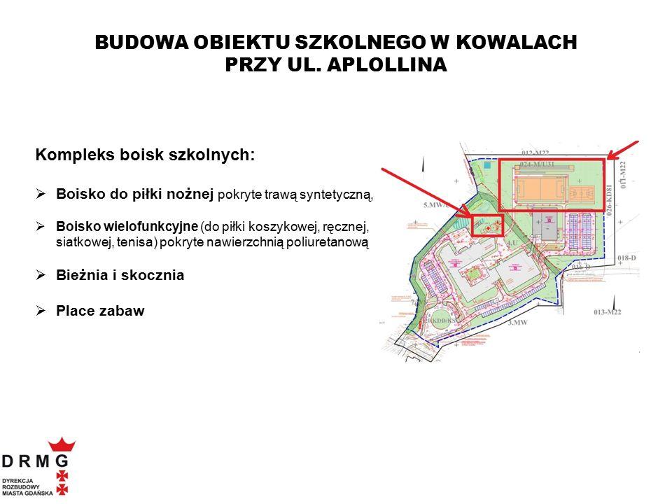 Kompleks boisk szkolnych:  Boisko do piłki nożnej pokryte trawą syntetyczną,  Boisko wielofunkcyjne (do piłki koszykowej, ręcznej, siatkowej, tenisa